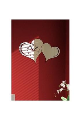 Kenetlenmiş Kalpler Dekoratif Ayna Saat