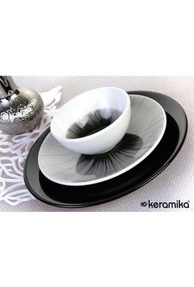 Keramika Takım Yemek Ege 24 Parça Beyaz 004-Siyah650 Bıng Bang SiyahA