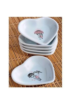 Keramika 6 Parça 14 Cm Pink Love Kalp Çerezlik