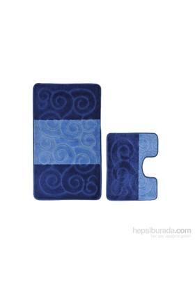 Confetti Şile İkili Set Koyu Mavi Banyo Halısı