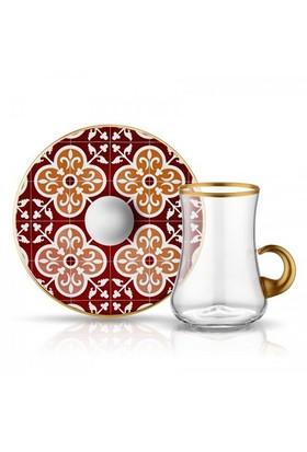 Koleksiyon Dervish Kulplu Karo Çay Seti 6Lı Bordo