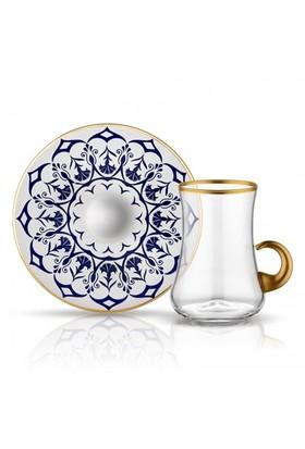 Koleksiyon Dervish Kulplu Cini Gonca Çay Seti 6Lı