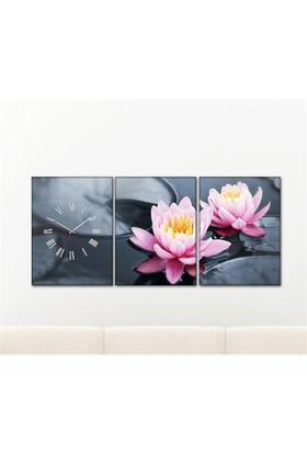 Tabloshop - Lotus 3 Parçalı Canvas Tablo Saat - 96X40cm