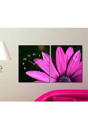 Tabloshop - Purple Daisy 2 Parçalı Canvas Tablo Saat - 63X40cm