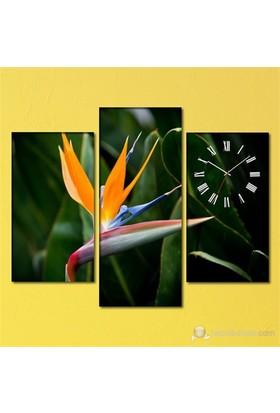 Tabloshop - Cennet Çiceği 3 Parçalı Simetrik Canvas Tablo Saat - 80X60cm