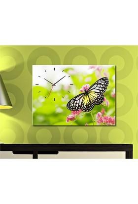 Tabloshop - Kelebek Canvas Tablo Saat - 45X30cm