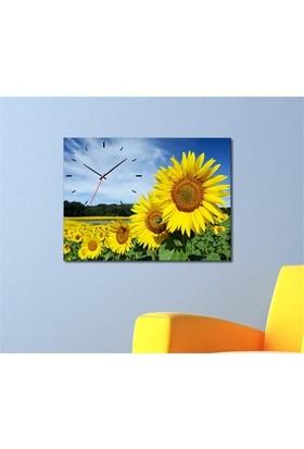 Tabloshop - Ayçiçekleri Canvas Tablo Saat - 45X30cm