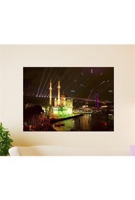 Tabloshop - Ortaköy Camii Canvas Tablo Saat - 45X30cm
