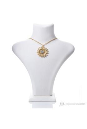 Bigg Amor İnci Çiçek Kolye-Altın