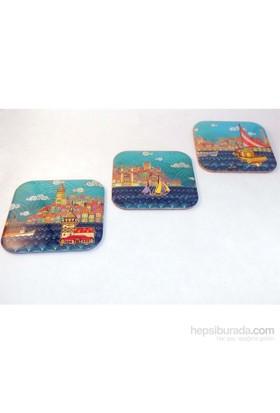Gift Box Renkli İstanbul Metal 3'Lü Bardak Altlığı