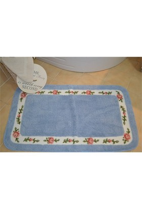 Giz Home Gül Banyo Paspası 70X120 Blue