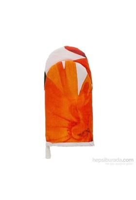 Yastıkminder Turuncu Çiçek Yapraklı Mutfak Eldiveni