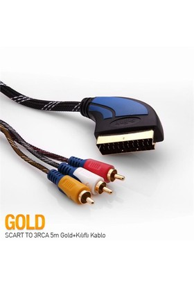 S-link SLX-931 SCART TO 3RCA 5m Gold+Kılıflı Kablo