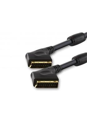 TTAF SCART to SCART Profesyonel Kablosu Ferit Kömürlü Kilitli Tip Konnektör 24K Altın 1m (96183)