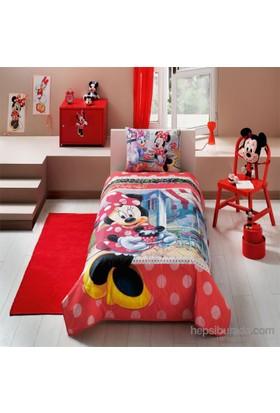 Disney Minnie Tea Time Tek Kişilik Ranforce Yatak Örtüsü