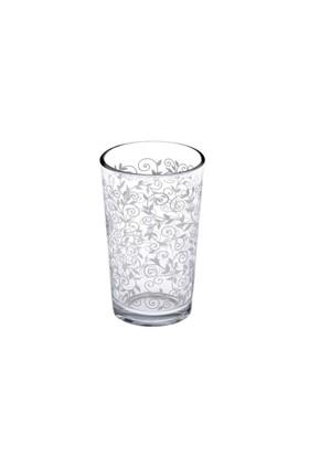 Joy Glass 6'Lı Beyaz Şal Desen Kahve Yanı Su Bardağı