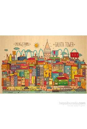 Biggdesign Smiling Istanbul Galata Ahşap Kartpostal
