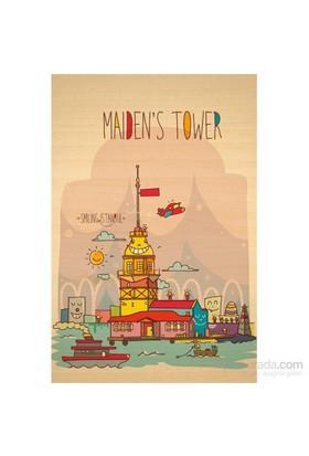Biggdesign Smiling Istanbul Kız Kulesi Ahşap Kartpostal