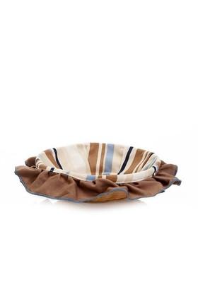 Yastıkminder Kahve Bej Çizgili Ekmek Sepeti