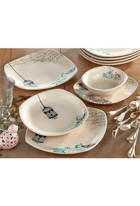 Keramika Köşem 24 Parça 6 Kişilik Yemek Takımı Krem
