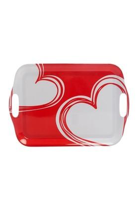 Bosphorus Kırmızı Kalpli Melamin Kulplu Tepsi 32X43,5 Cm
