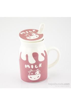 Mukko Home Porselen Kapaklı Kupa-Pembe
