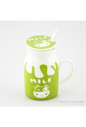 Mukko Home Porselen Kapaklı Kupa-Yeşil