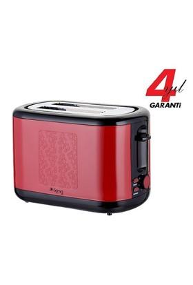 King K 2177 Ekmek Kızartma Makinesi Kırmızı