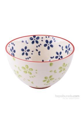 Thanx Co Çiçek Desenli Kase Mavi