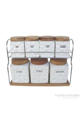 Gönül Porselen Ahşap Askılı Standtlı 7 Li Porselen Baharat Takımı