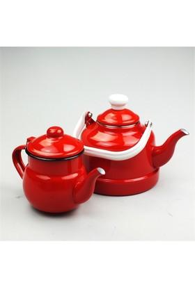 Evo Retro Emaye Çaydanlık Takımı Kırmızı Küçük Boy