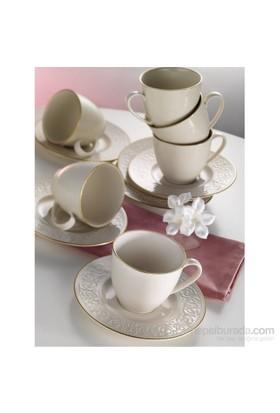 Kütahya Porselen Açelya Krem 12 Parça 6 Kişilik Kahve Fincan Takımı