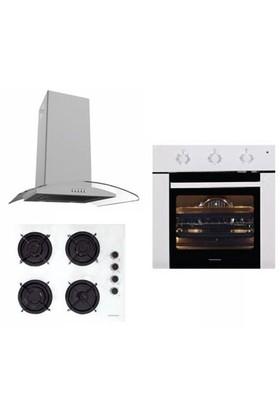 Termikel Eco White 3'Lü Ankastre Set ( BO 5200 W Ankastre Fırın + 17152 W604L Emaye Izgaralı Ankastre Ocak + Caspia 3108 Beyaz 60 Cm Davlumbaz )