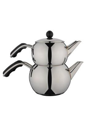Aryıldız İris Siyah Mini Çaydanlık Takım