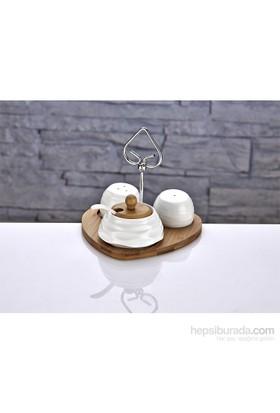 Fidex Home Kalpli Porselen 5 Parça Tuzluk Biberlik Baharatlık Takımı