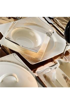 Kütahya Porselen Square Bone 12 Kişilik 84 Parça Desenli Yemek Takımı