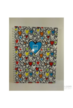Make Notes Tellı Renklı Kalpler A4 Defte