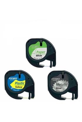 Dymo Letratag Etiket 10 Adet 59421 12M X 4Mm Mavi Plastik Etiket