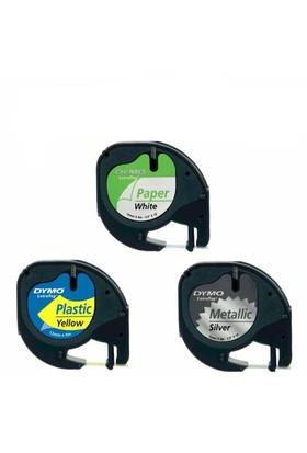 Dymo Letratag Etiket 10 Adet 59421 12M X 4Mm Metalik Gri Plastik Etiket
