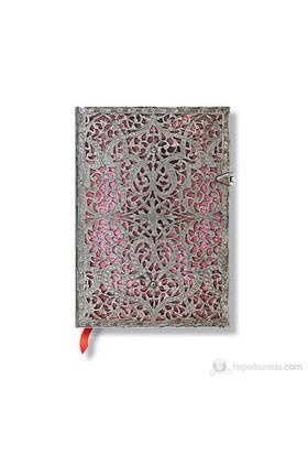 Paperblanks Silver Fligree Pink Midi Çizgili 120 x 170mm. 1935-0
