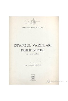 İstanbul Vakıfları Tahrîr Defteri-Mehmet Canatar