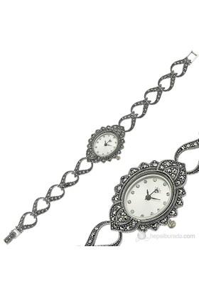 Bayan Lili Markazit Taşlı Gümüş Bayan Saat