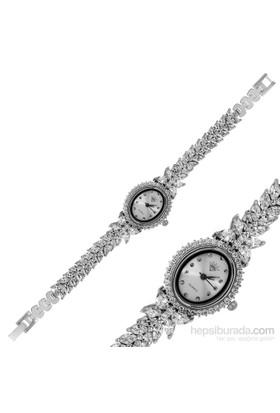 Gumush Gümüş Oval Kadranlı Başak Dalı Saat