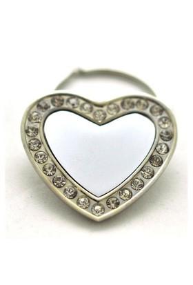 Kristal Kaplı Çelik Kalp Anahtarlık
