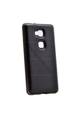 Case 4U Huawei Gr5 Deri Arka Kapak Metal Çerçeveli Siyah