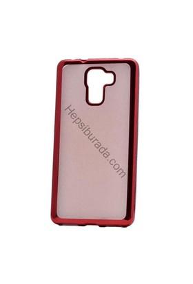 Case 4U Huawei Honor 7 Lazer Kaplamalı Şeffaf Silikon Kılıf Kırmızı