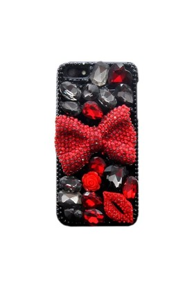 Resonare Apple iPhone 5 - 3D Lips&Ribbon - Taşli - Siyah Kapak