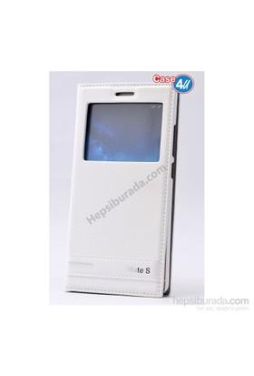 Case 4U Huawei Mate S Pencereli Kapaklı Kılıf Beyaz*