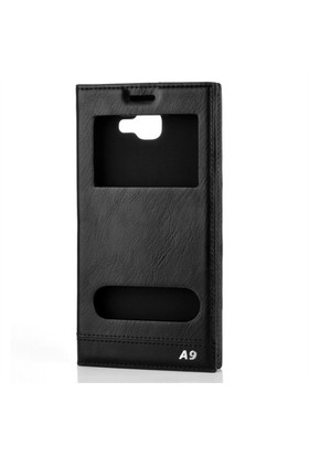 Cep Market Samsung Galaxy A9 2016 Kılıf A910 Kapaklı Pencereli Milano - Siyah