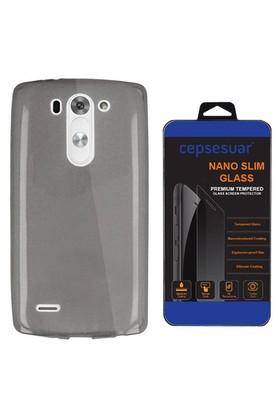 Cepsesuar Lg G3 S Kılıf Silikon 0.2 Mm Siyah + Cam